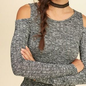 Tops - Hollister Cold Shoulder Ribbed Long Sleeve Top